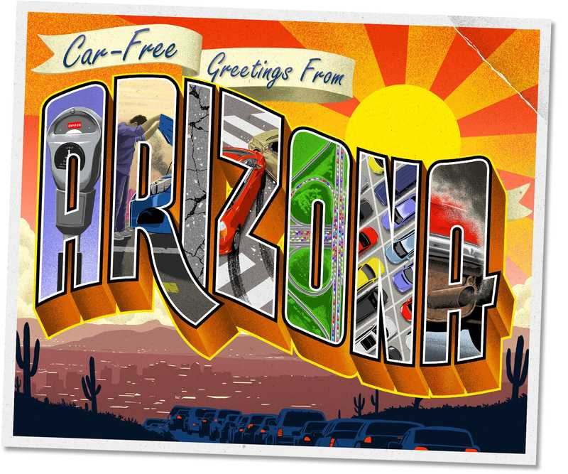 Old-school style postcard illustration saying 'Car-Free Greetings from Arizona'